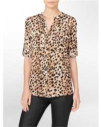 5a722c1ecdaa Women's Brown Leopard Silk Shirts by Calvin Klein   Women's Fashion ...
