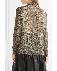 8d764f3609e70 ... Saint Laurent Pussy Bow Leopard Print Silk Georgette Shirt Leopard Print