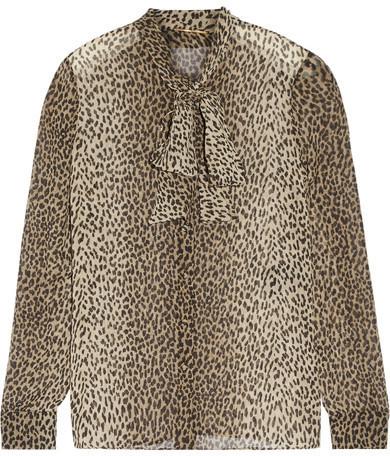 ... Saint Laurent Pussy Bow Leopard Print Silk Georgette Shirt Leopard Print  ...