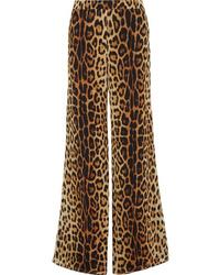 Moschino Leopard Print Silk Wide Leg Pants