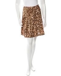 Michael Kors Michl Kors Silk Leopard Print Skirt