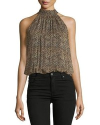 Alice + Olivia Maris Gathered Leopard Print Sleeveless Halter Top
