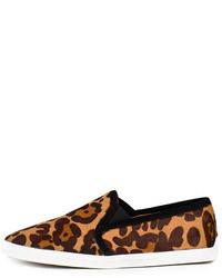 Brown Leopard Slip-on Sneakers