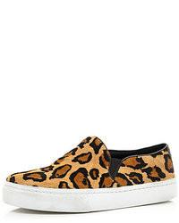River Island Brown Leopard Pony Hair Slip On Sneakers