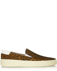 Saint Laurent Leopard Print Suede Slip On Sneakers