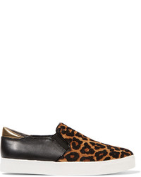 Sam Edelman Miles Leopard Print Calf Hair And Leather Sneakers