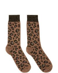 Versace Brown Glitter Leopard Socks