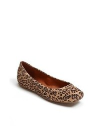 Brown Leopard Suede Ballerina Shoes
