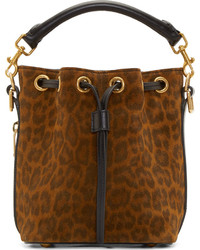 Brown Leopard Suede Bucket Bag