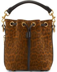 Brown leopard print small emmanuelle bucket bag medium 200002