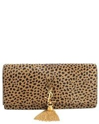 Saint Laurent Leopard Print Fur Logo Tassel Clutch