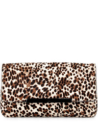 Rougissime leopard print calf hair clutch bag medium 114166