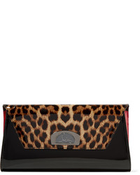 Vero dodat leopard print patent leather clutch black medium 3645990