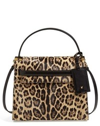 My rockstud leopard print calf hair satchel medium 343576