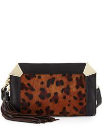Foley + Corinna Portrait Calf Hair Crossbody Bag Leopard