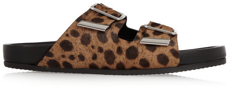Image 6 Of Flat Leather Sandals With Leopard Print Strap From Zara