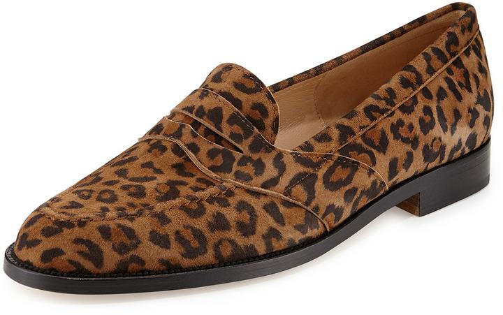 Manolo Blahnik Consulta Wildleder Penny Loafer Leopard DUONgWOX