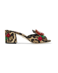 Dolce & Gabbana Crystal Embellished Leopard And Floral Print Canvas Mules