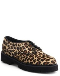 MSGM Leopard Calf Hair Lace Up Loafers