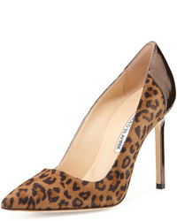 Bb suede point toe pump leopard medium 148451