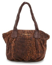 Brown Leopard Suede Tote Bag