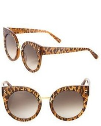 51mm leopard print rounded cat eye sunglasses medium 956179