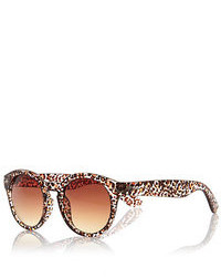River Island Brown Leopard Print Round Sunglasses