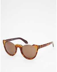 Asos Collection Handmade Acetate Round Sunglasses With Cut Away Detail