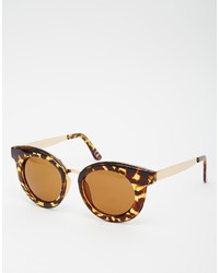 Asos Collection Ridge V Nose Chunky Round Sunglasses