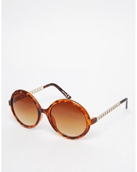 Asos Collection Round Sunglasses With Chain Arm Detail
