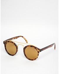 Asos Collection Round Sunglasses With Metal Bridge High Bar