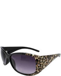 Fantas Eyes Lynx Leopard Print Round Sunglasses