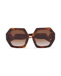 Valentino Garavani Hexagon Frame Tortoiseshell Acetate Sunglasses