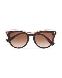 Valentino Garavani Round Frame Tortoiseshell Acetate And Gold Tone Sunglasses