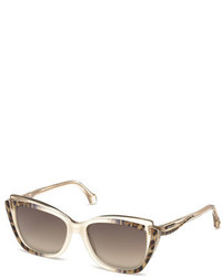 Roberto Cavalli Leopard Ombre Cat Eye Sunglasses Whitebrown