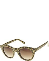 Bisou Bisou Leopard Pattern Chunky Round Sunglasses