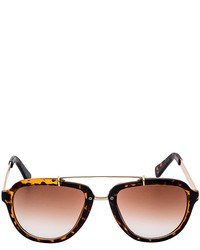 Choies Leopard Pattern Frame Sunglasses With Metal Bridge