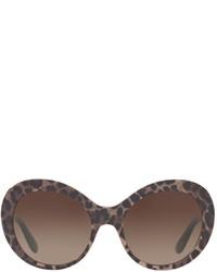 Dolce & Gabbana Leopard Print Oval Sunglasses