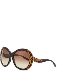 Oversized leopard print sunglasses medium 95376