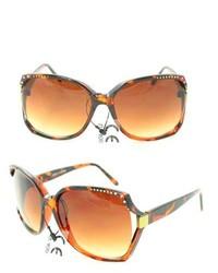 Overstock Uv512 Brown Leopard Rhinestone Square Sunglasses