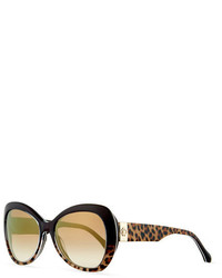 Roberto Cavalli Two Tone Leopard Print Butterfly Sunglasses Brown