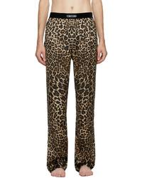 Tom Ford Beige Silk Leopard Lounge Pants