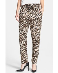 Brown Leopard Tapered Pants