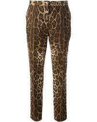 Dolce & Gabbana Leopard Print Straight Leg Trouser