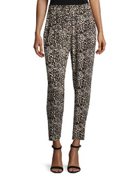 Vince Camuto Leopard Print Slim Leg Pleated Pants Rich Black