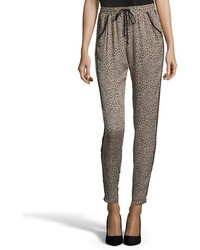 Greylin Taupe And Black Leopard Print Silk Chiffon Drawstring Pants