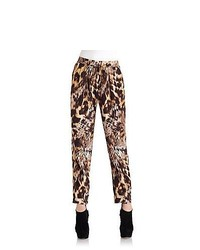 Yigal Azrouel Silk Crepe Leopard Pants Leopard