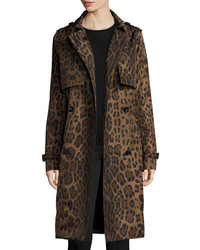 Double breasted leopard print midi trenchcoat brown medium 3639540
