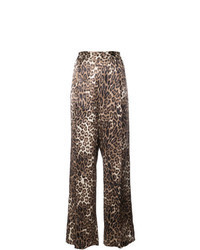 Brown Leopard Wide Leg Pants