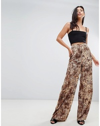 Missguided Leopard Print Flared Trousers